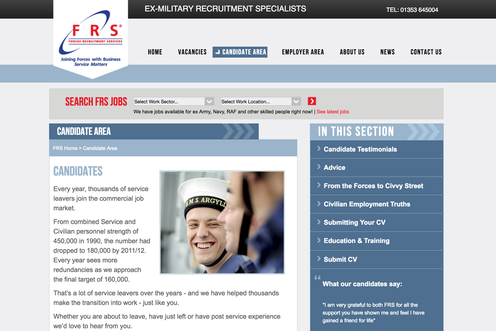 Forces Recruitment Services Candidate Page - Built by Presto Web Design