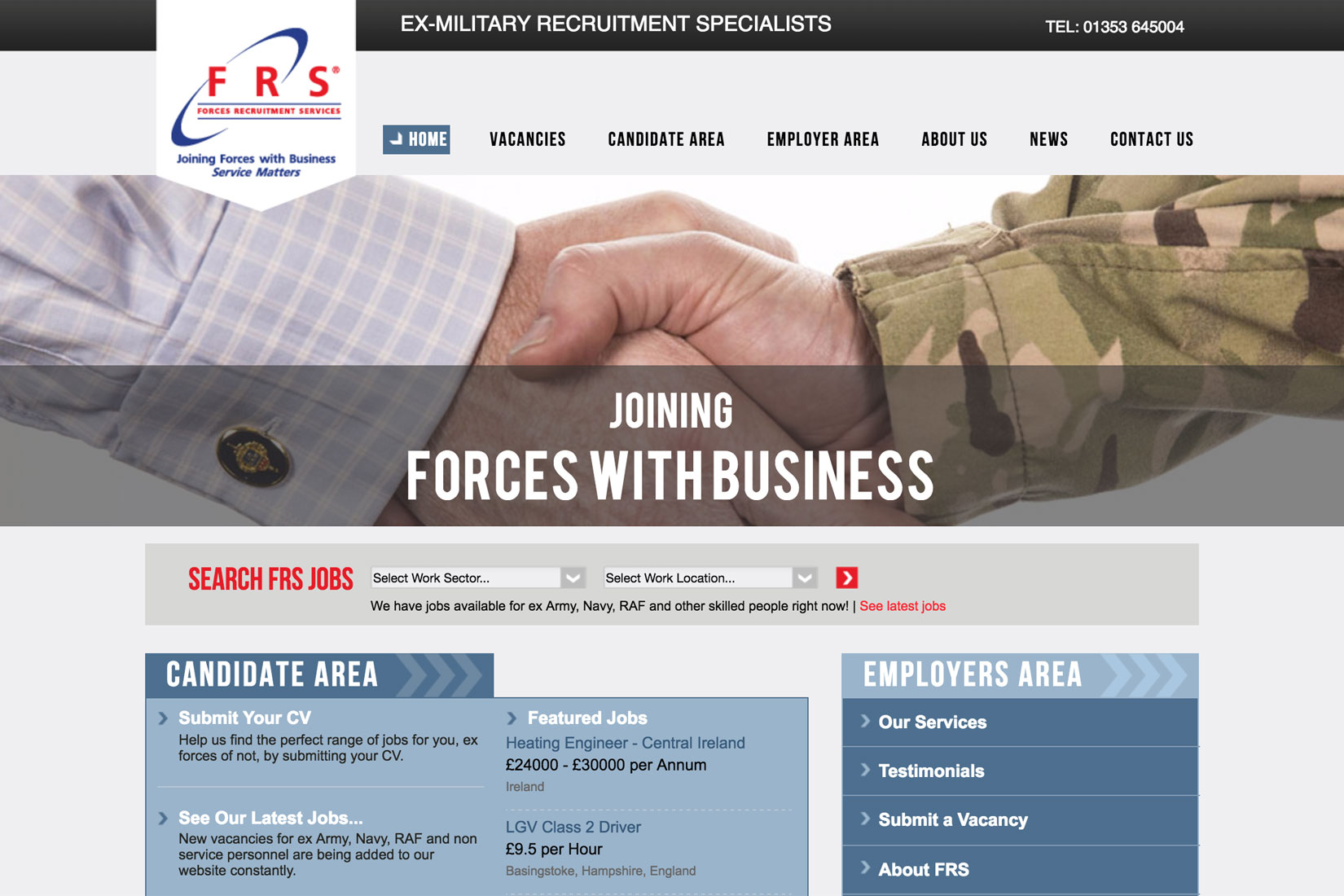 Forces Recruitment Services Home Page - Built by Presto Web Design