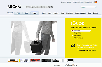 "Arcam website updated for ""rCube"" portable iPod dock"