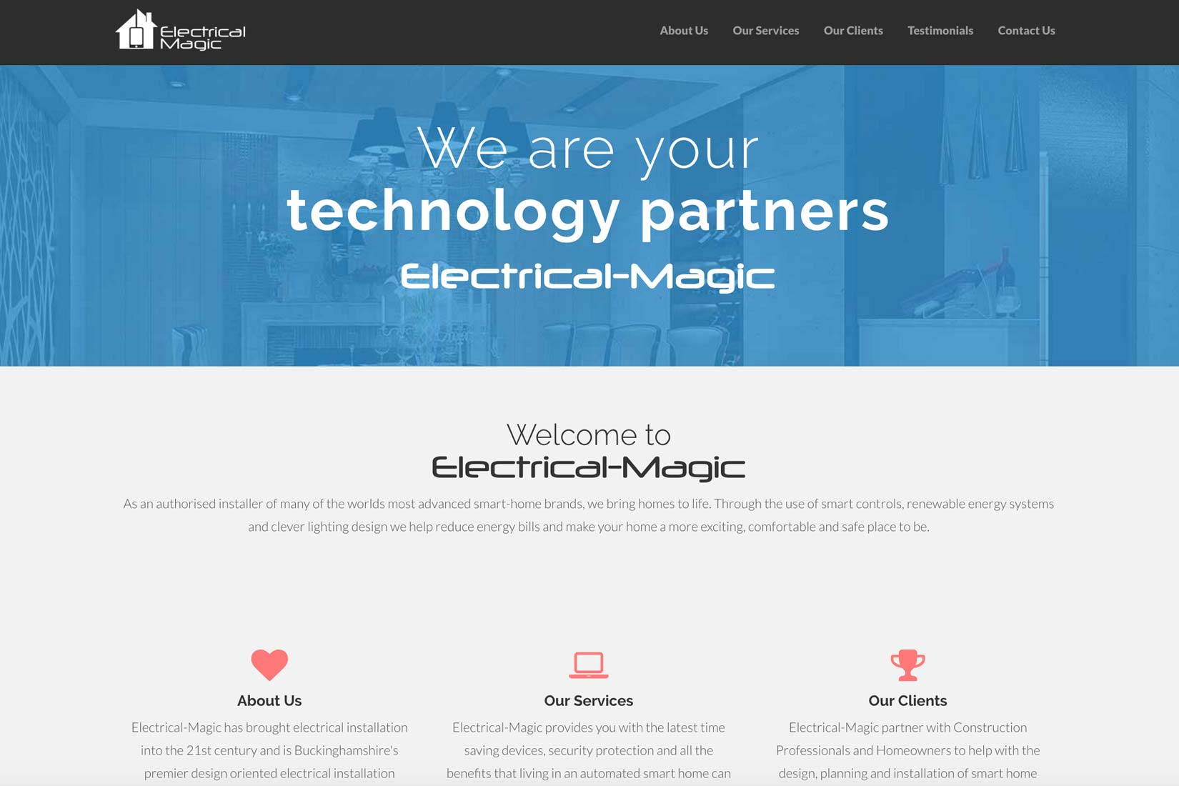 Electrical Magic Home Page built by Presto Web Design