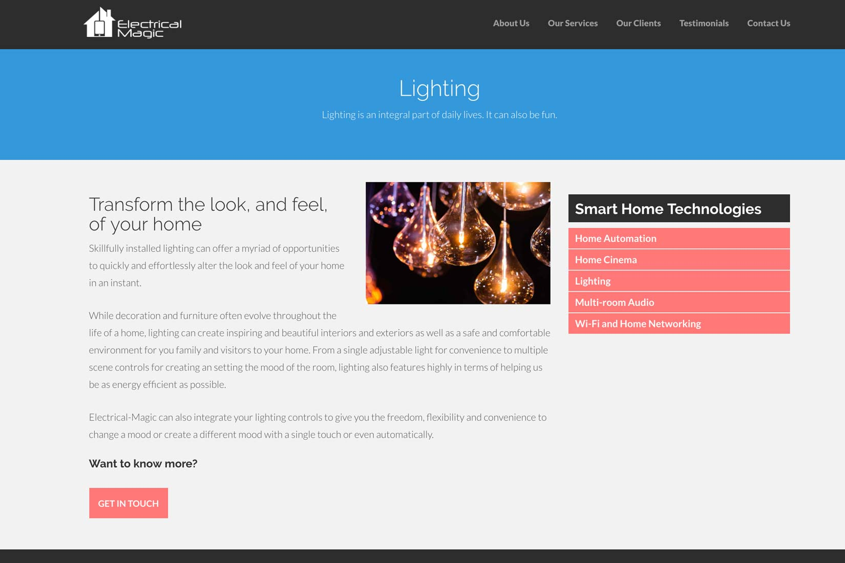 Electrical Magic Lighting built by Presto Web Design
