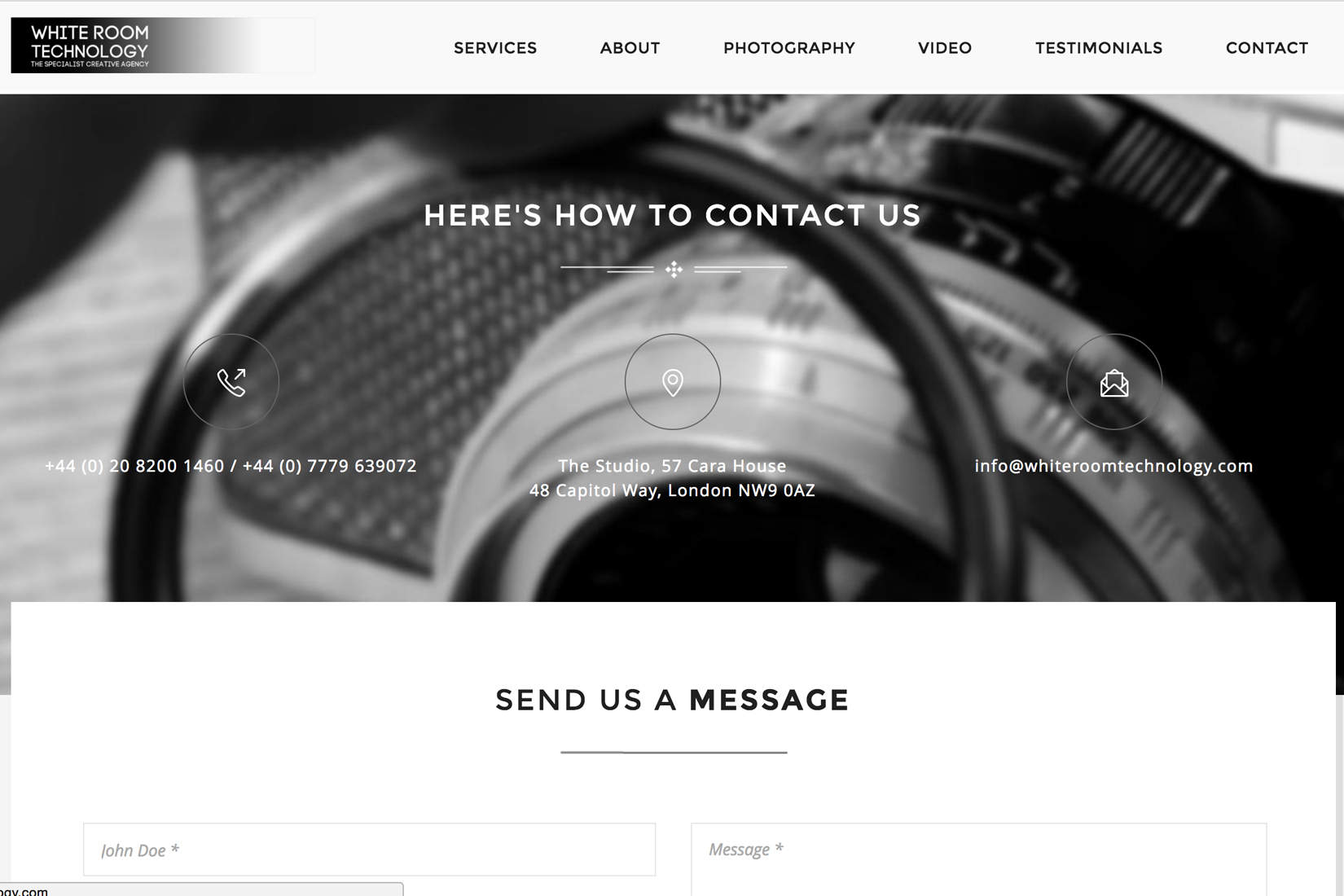 White Room Technology Website by Presto Web Design - Contact Page